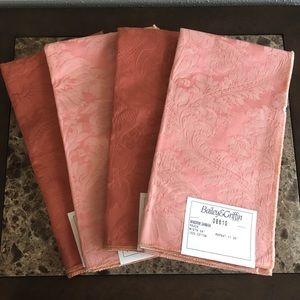 4pcs Pink & Red Damask Fabric Samples Bundle